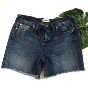 Madewell Button Fly Frayed Dark Wash Jean Shorts